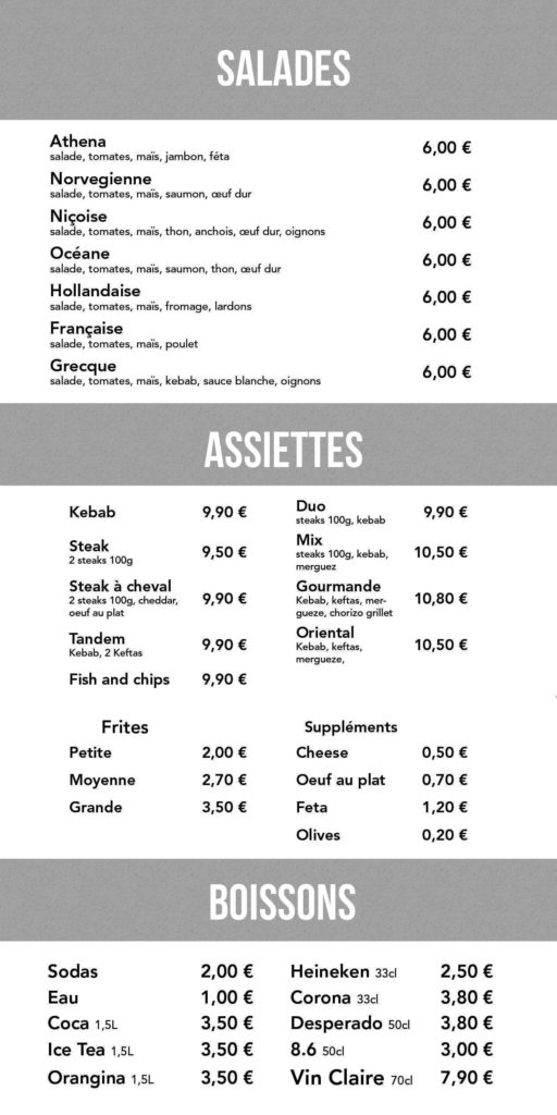 Menu Costa Kebab
